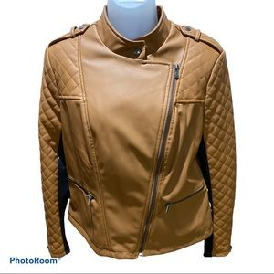 NWOT G by Giuliana Cognac Faux Leather Jacket M